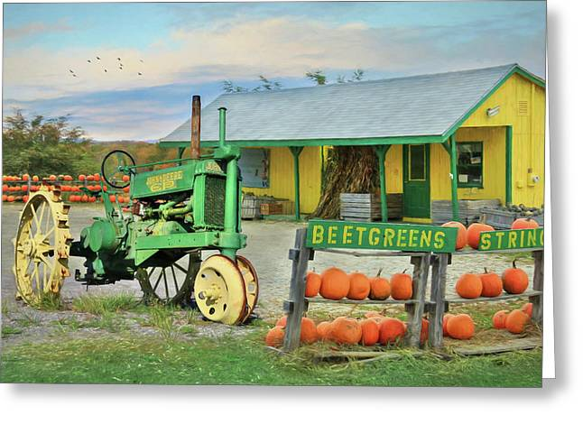 Maine Farm Market Greeting Card by Lori Deiter