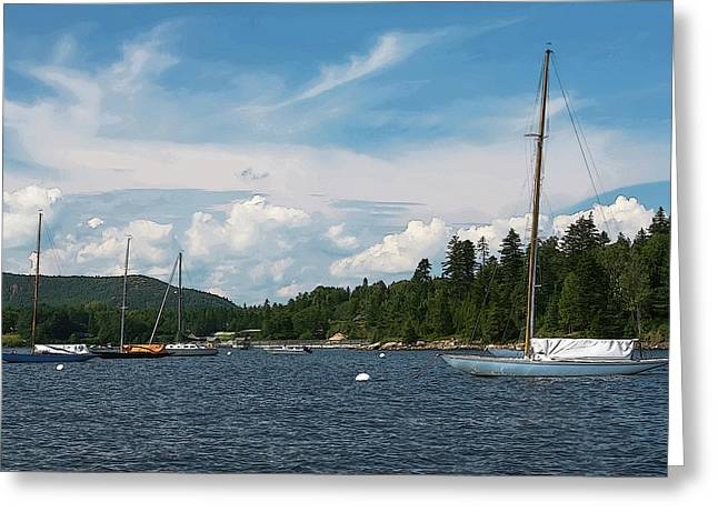Maine Harbor 3 Of 4 Greeting Card by Greg Rogers