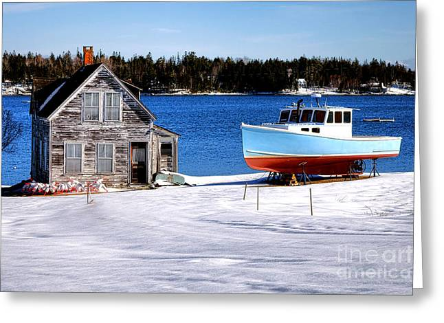 Maine Harbor Winter Scene Greeting Card