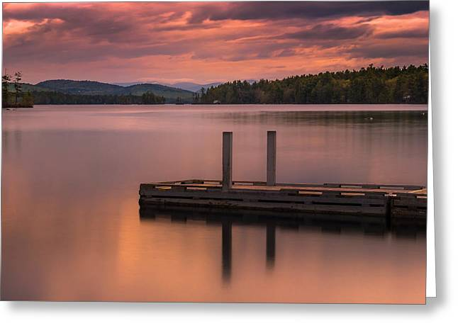 Greeting Card featuring the photograph Maine Highland Lake Boat Ramp At Sunset by Ranjay Mitra
