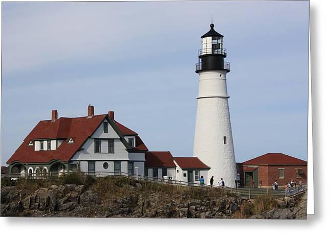 Maine Light House Greeting Card by Sue Mayor