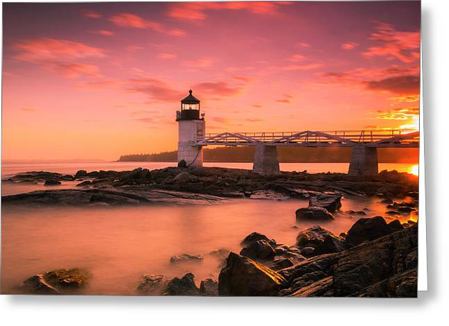 Maine Lighthouse Marshall Point At Sunset Greeting Card