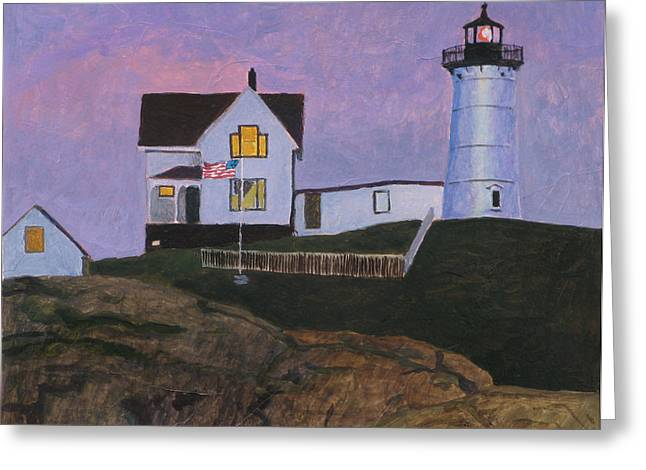Maine Lighthouse Greeting Card by Robert Bissett