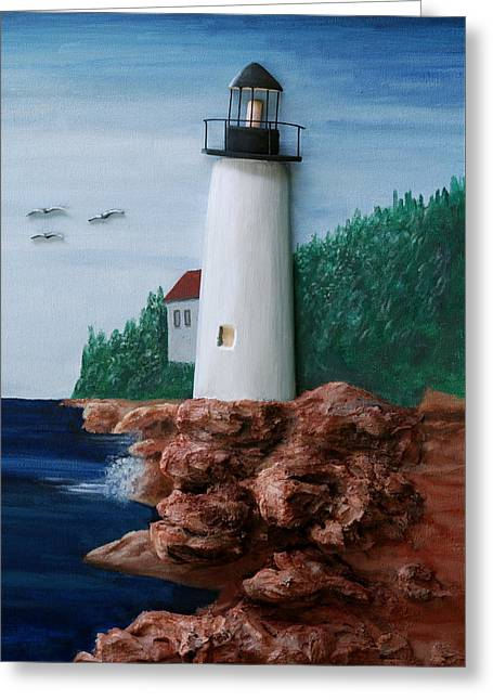 Maine Lighthouse Greeting Card by Ted Hess