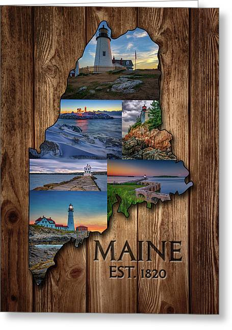 Maine Lighthouses Collage Greeting Card