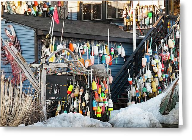Maine Lobster Shack In Winter Greeting Card