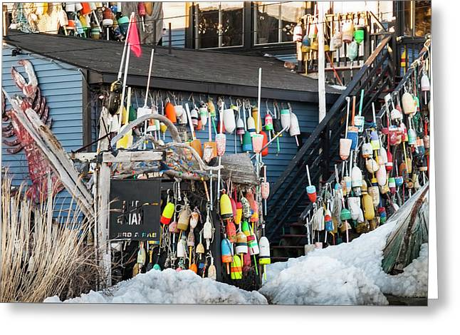 Greeting Card featuring the photograph Maine Lobster Shack In Winter by Ranjay Mitra