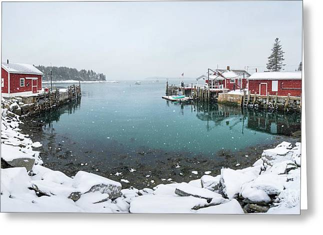 Maine Lobster Shacks In Winter Greeting Card