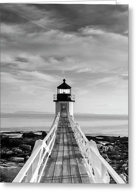 Maine Marshall Point Lighthouse Vertical Panorama In Black And White Greeting Card