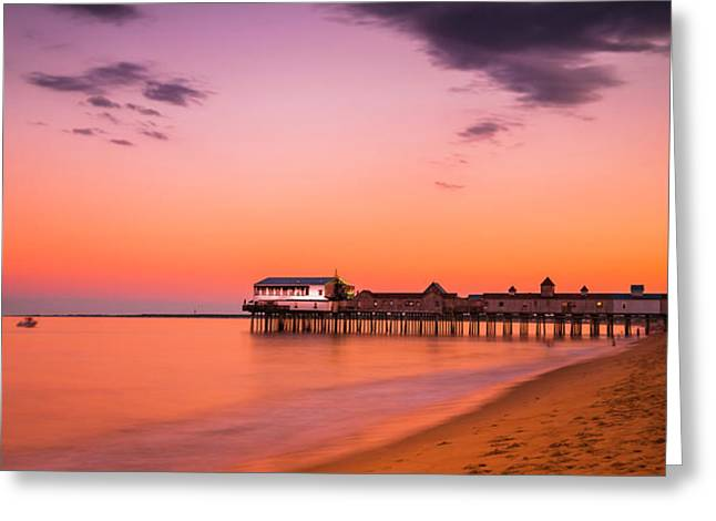 Maine Old Orchard Beach Pier At Sunset Greeting Card