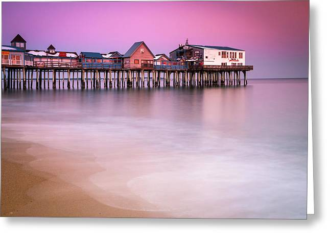 Greeting Card featuring the photograph Maine Old Orchard Beach Pier Sunset  by Ranjay Mitra