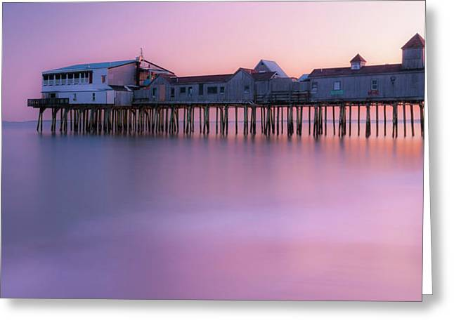 Maine Oob Pier At Sunset Panorama Greeting Card