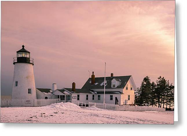 Maine Pemaquid Lighthouse After Winter Snow Storm Greeting Card