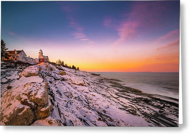 Greeting Card featuring the photograph Maine Pemaquid Lighthouse In Winter Snow by Ranjay Mitra