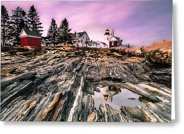 Maine Pemaquid Lighthouse Reflection In Summer Greeting Card