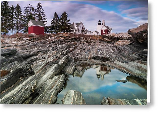 Maine Pemaquid Lighthouse Reflection Greeting Card