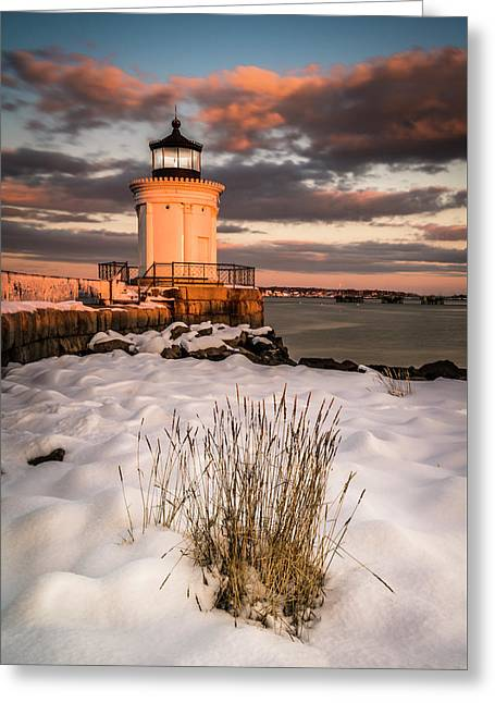 Greeting Card featuring the photograph Maine Portland Bug Light Lighthouse Sunset  by Ranjay Mitra