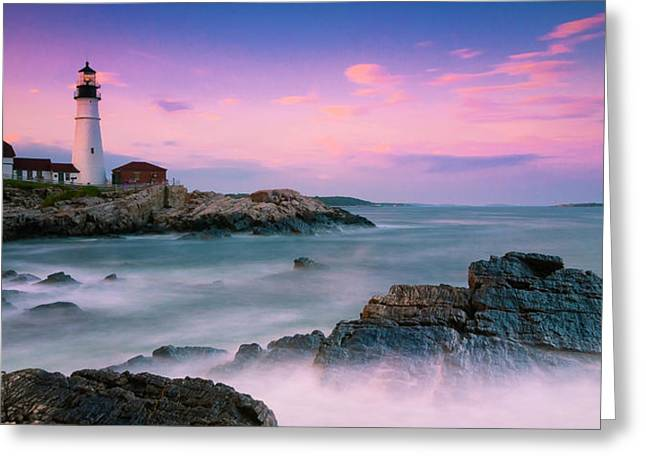 Maine Portland Headlight Lighthouse At Sunset Panorama Greeting Card