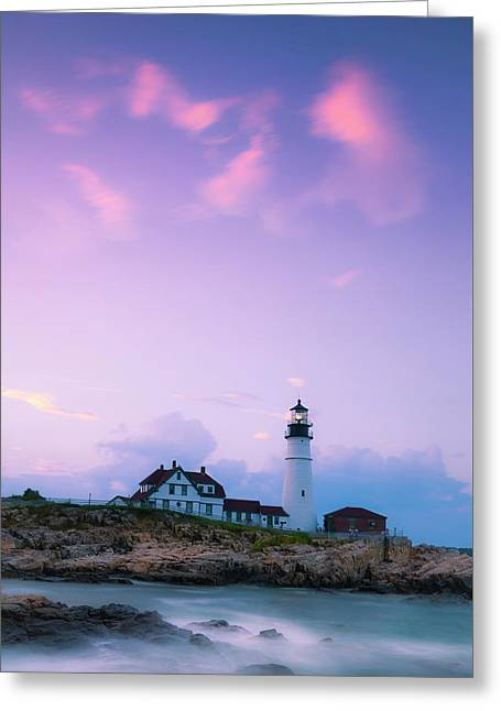 Maine Portland Headlight Lighthouse In Blue Hour Greeting Card