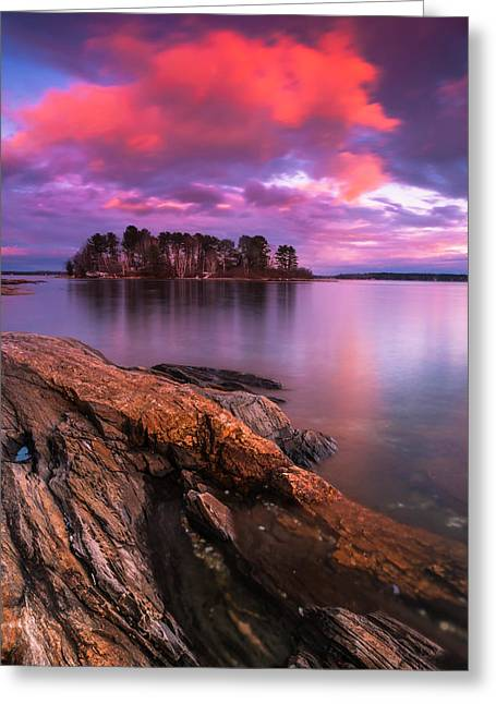 Maine Pound Of Tea Island Sunset At Freeport Greeting Card