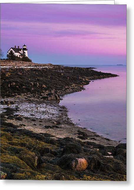 Maine Prospect Harbor Lighthouse Sunset In Winter Greeting Card