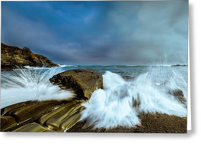 Maine Rocky Coast During Storm At Two Lights Greeting Card by Ranjay Mitra