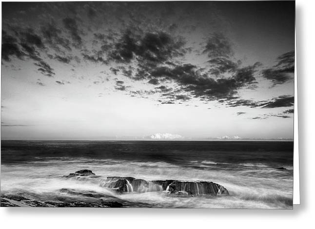 Maine Rocky Coast With Boulders And Clouds At Two Lights Park Greeting Card by Ranjay Mitra