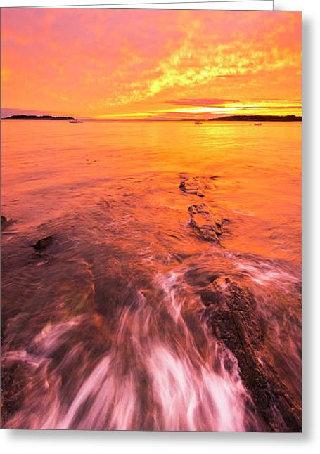 Maine Rocky Coastal Sunset At Kettle Cove Greeting Card