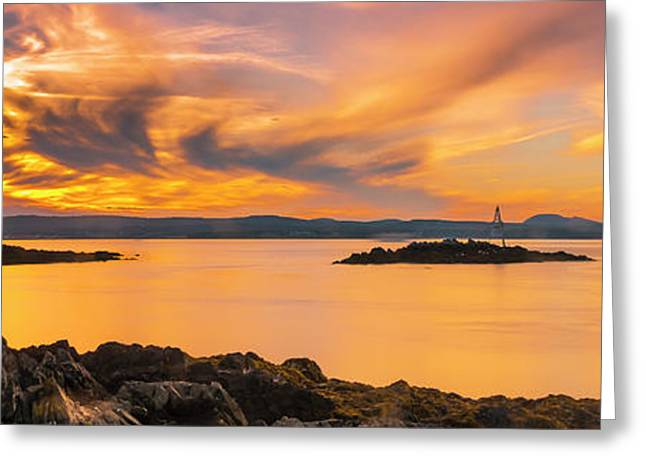 Maine Rocky Coastal Sunset In Penobscot Bay Panorama Greeting Card