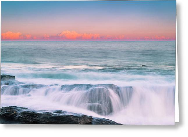 Maine Rocky Coastal Sunset Panorama Greeting Card