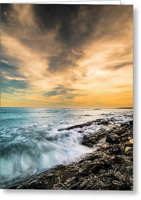Greeting Card featuring the photograph Maine Rocky Coastal Sunset by Ranjay Mitra
