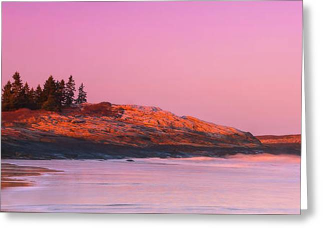 Maine Sheepscot River Bay With Cuckolds Lighthouse Sunset Panorama Greeting Card