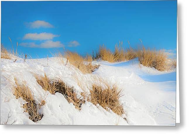 Maine Snow Dunes On Coast In Winter Panorama Greeting Card