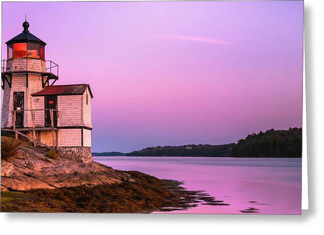 Maine Squirrel Point Lighthouse On Kennebec River Sunset Panorama Greeting Card