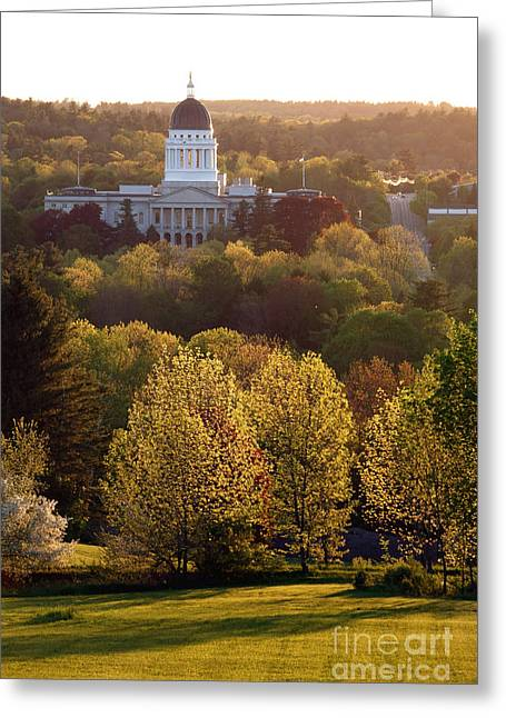 Maine State Capitol At Sunset Greeting Card