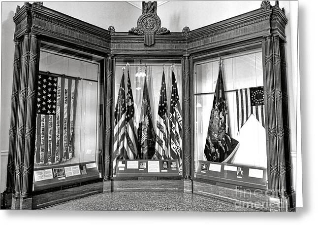 Maine State Capitol Hall Of Flags Civil War Display Case One Greeting Card