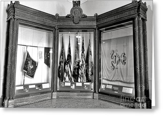 Maine State Capitol Hall Of Flags Civil War Display Case Two Greeting Card