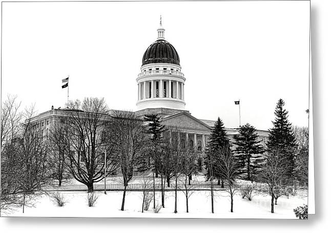 Maine State Capitol In Winter Greeting Card