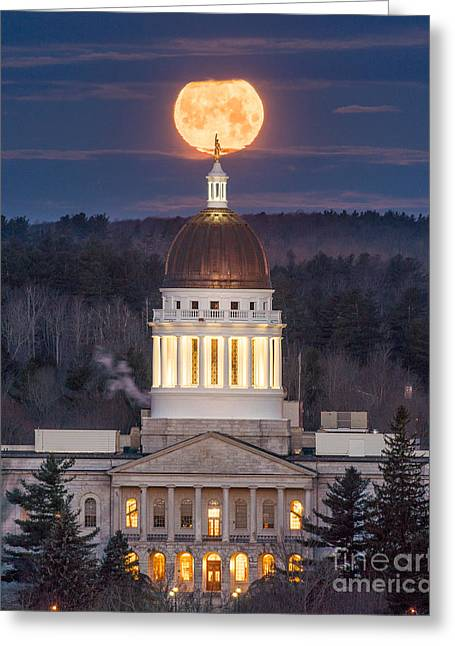 Maine State House Moon Greeting Card