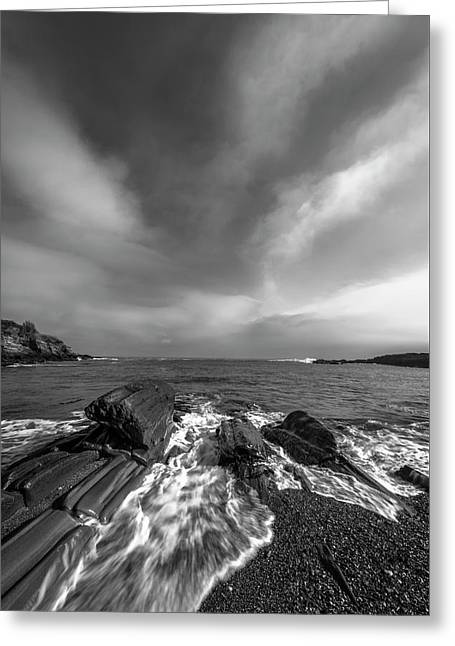 Maine Storm Clouds And Crashing Waves On Rocky Coast Greeting Card