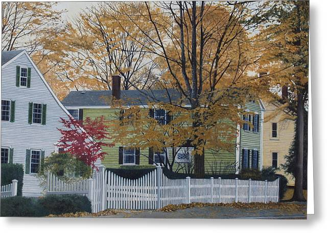 Autumn Day On Maine Street, Kennebunkport Greeting Card