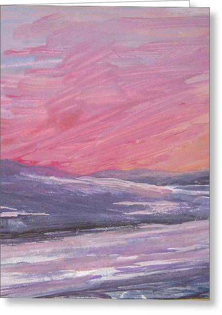Maine Sunset Greeting Card by Lynne Vokatis
