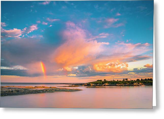Maine Sunset - Rainbow Over Lands End Coast Greeting Card
