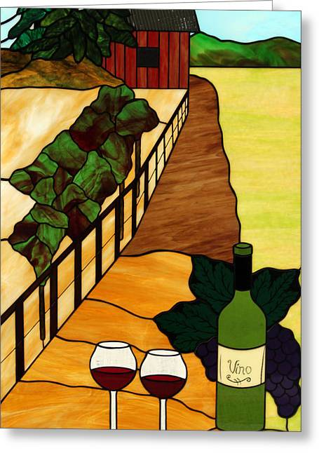 Wine-bottle Glass Greeting Cards - Maine Vineyard Greeting Card by Jane Croteau