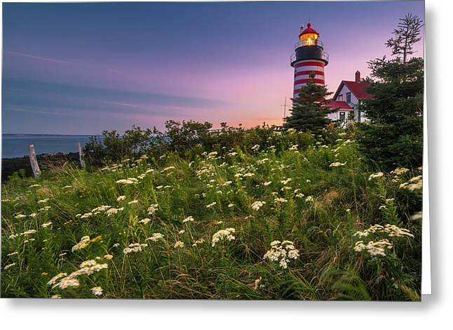 Maine West Quoddy Head Lighthouse Sunset Greeting Card