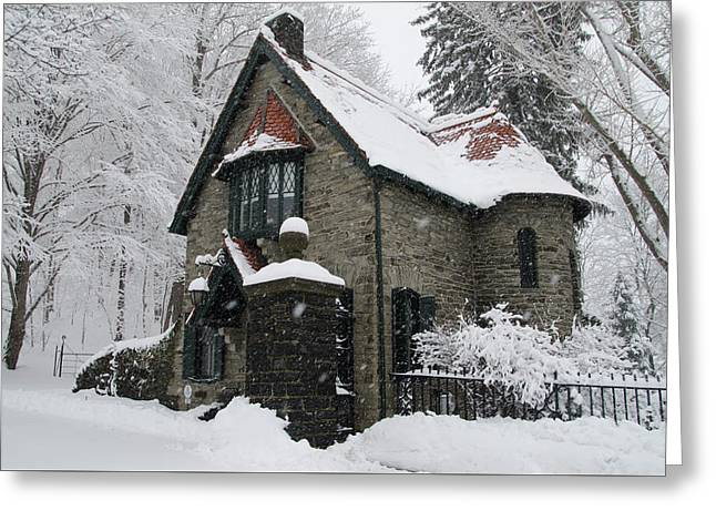 Mainline Gatehouse In The Snow Greeting Card
