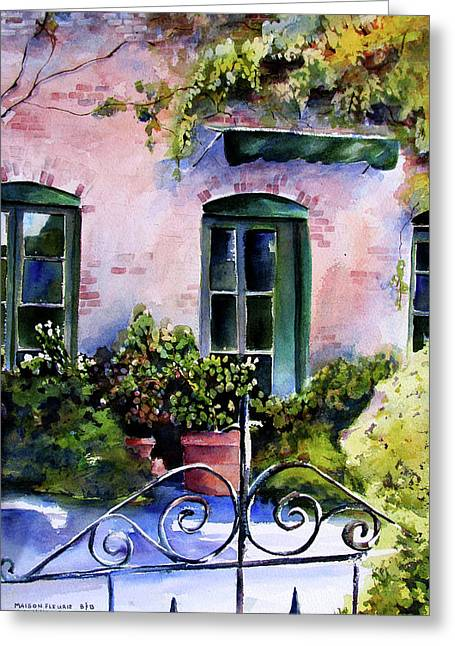 Greeting Card featuring the painting Maison Fleurie by Marti Green