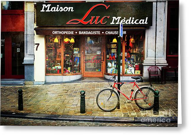 Greeting Card featuring the photograph Maison Luc Bicycle by Craig J Satterlee