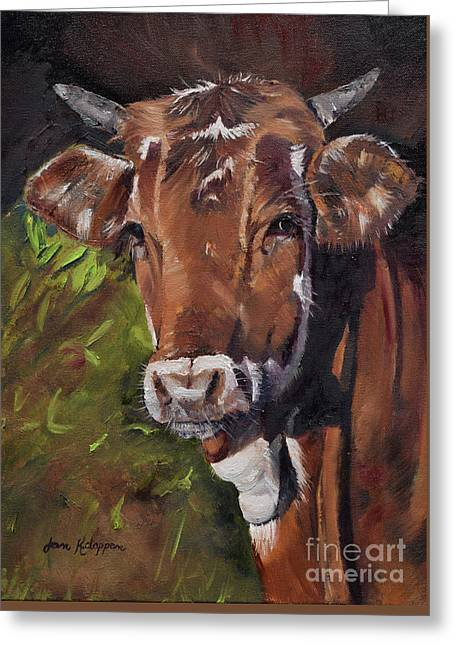 Greeting Card featuring the painting Maisy The Cow- Brown Cow - Moo by Jan Dappen