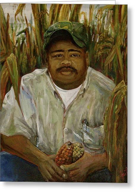 Maize Farmer Greeting Card by Linnie Aikens